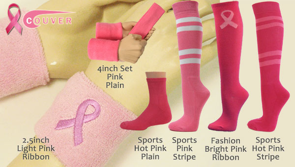Pink ribbon logo symbol wristbands, socks, headbands