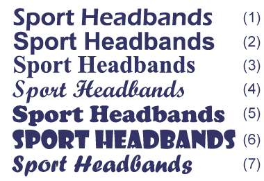 customized head sweatbands font choice for embroidery