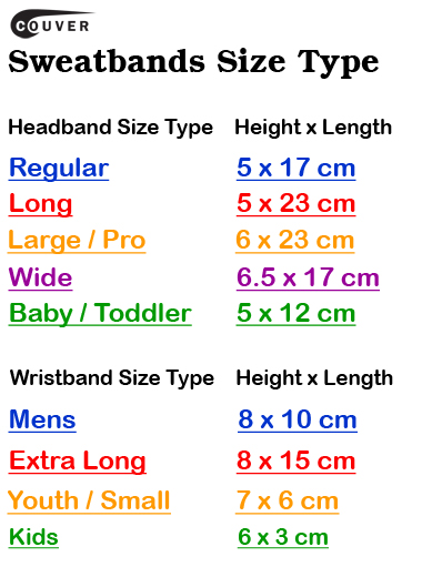 Couver's headbands wristbands size types