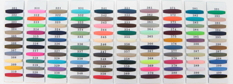 Sample Nylon color codes chart #201-#300