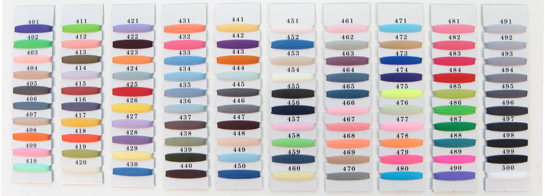 Sample Nylon color codes chart #401-#500