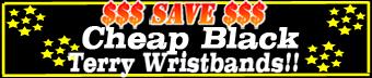Cheap black terry wristbands