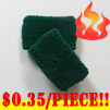 cheap dark green terry wristband kids size 35 cents piece