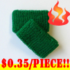 cheap green terry wristband kids size 35 cents piece