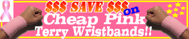 Cheap pink terry wristbands