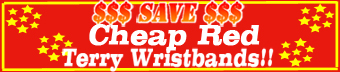Cheap red terry wristbands