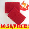 cheap red terry wristband youth size 56 cents piece