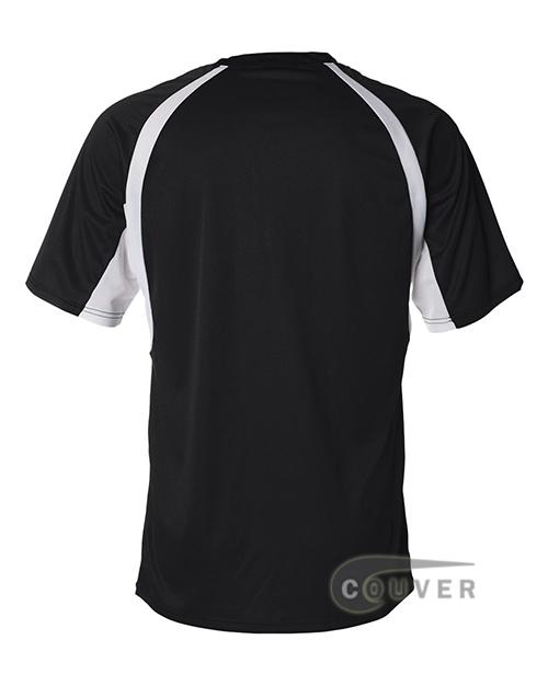 Badger Short-Sleeve 2-Tone Performance Tee - Black / White - back view