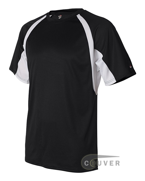 Badger Short-Sleeve 2-Tone Performance Tee - Black / White - side view