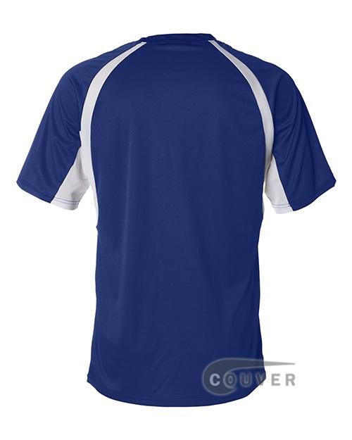 Badger Short-Sleeve 2-Tone Performance Tee - Blue / White - back view