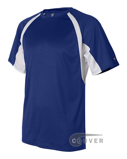 Badger Short-Sleeve 2-Tone Performance Tee - Blue / White - side view