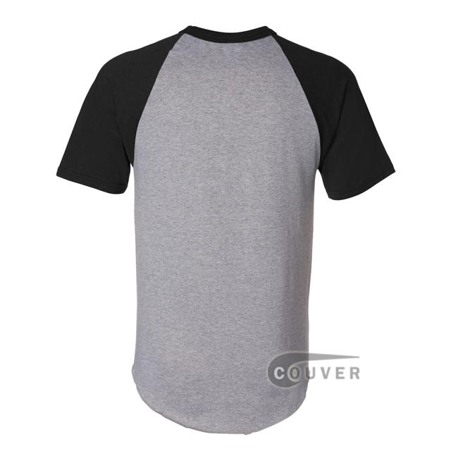 Augusta Sportswear 423 50/50 S-Sleeve Raglan T-Shirt - Gray / Black - back view