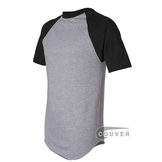 Augusta Sportswear 423 50/50 S-Sleeve Raglan T-Shirt - Gray / Black - side view