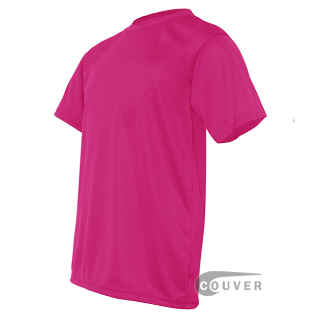 C2 Sport Hot Pink Youth Performance T-Short - side view