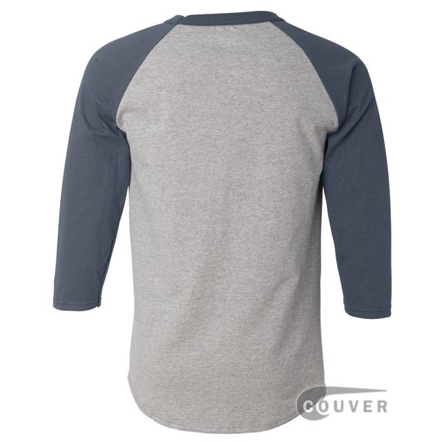 Champion Cotton Tagless Raglan Baseball T-Shirt - Gray / Navy - back view