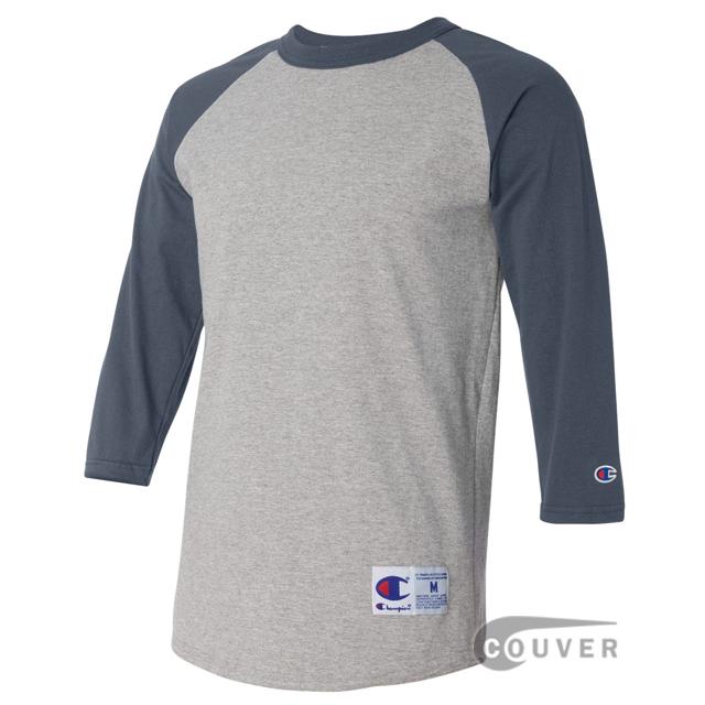 Champion Cotton Tagless Raglan Baseball T-Shirt - Gray / Navy - side view
