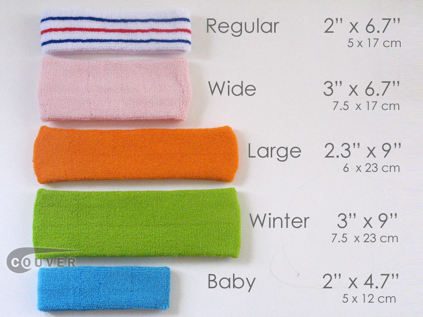 Couver Head Sweatbands Size
