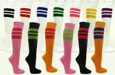striped knee high sports socks