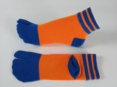 split socks orange with blue stripes on ankle