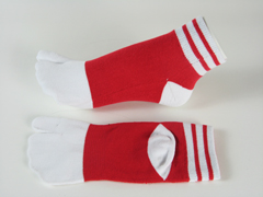 split socks red with white stripes on ankle