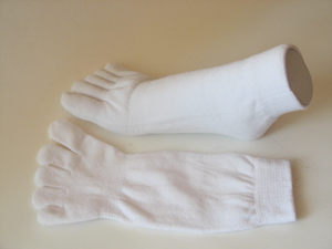 Thicker white ankle toe sock another view