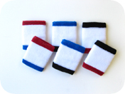 White w/ Red and Blue edge athletic sweat Wristbands