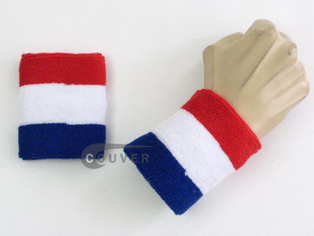 red white blue America's color COUVER striped wrist sweatband