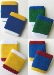 3colored trim style sweat wristbands green, yellow, red, blue, and white