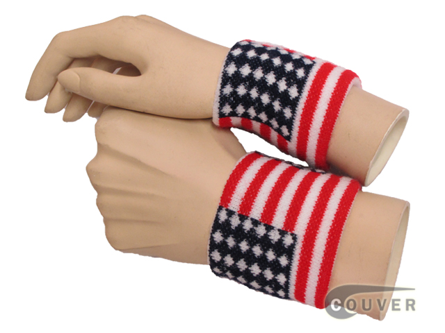 american flag wristbands wearing view
