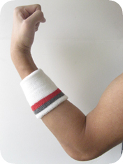Quality stripe athletic sweat wristbands in white