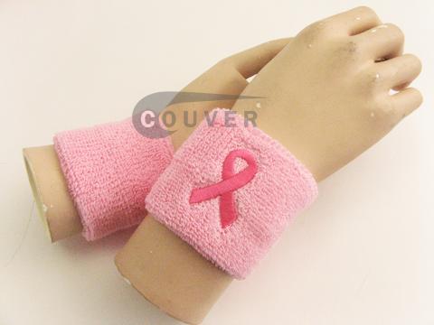 ribbon logo pink wrist sweatbands wholesale COUVER