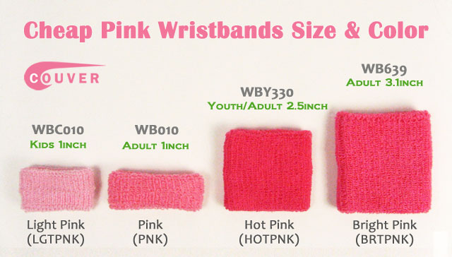 Couver Cheap Pink Wristbands - Shades of Pink and Sizes