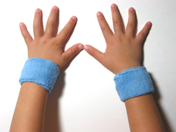 light blue baby kid's cotton terry-cloth sweatband