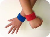 children's Bright pink and red wristband wearing view