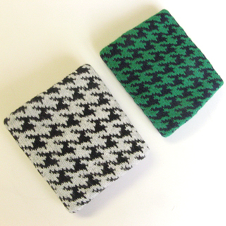 houndstooth check gray black green wristbands picture