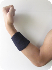 athletic sweat wrist band on arm