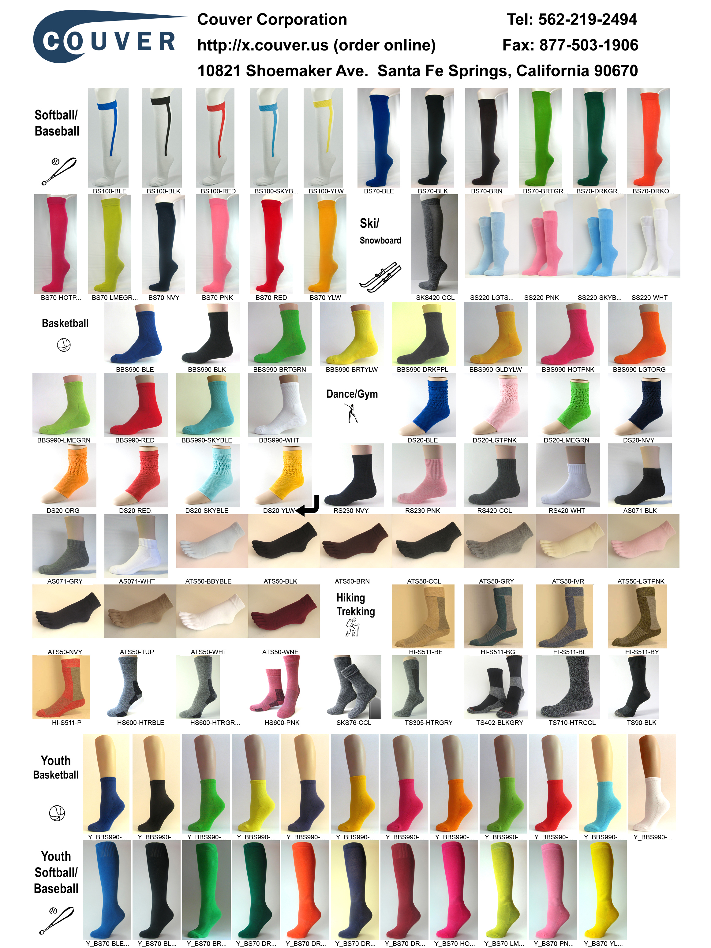 Couver sports socks catalog