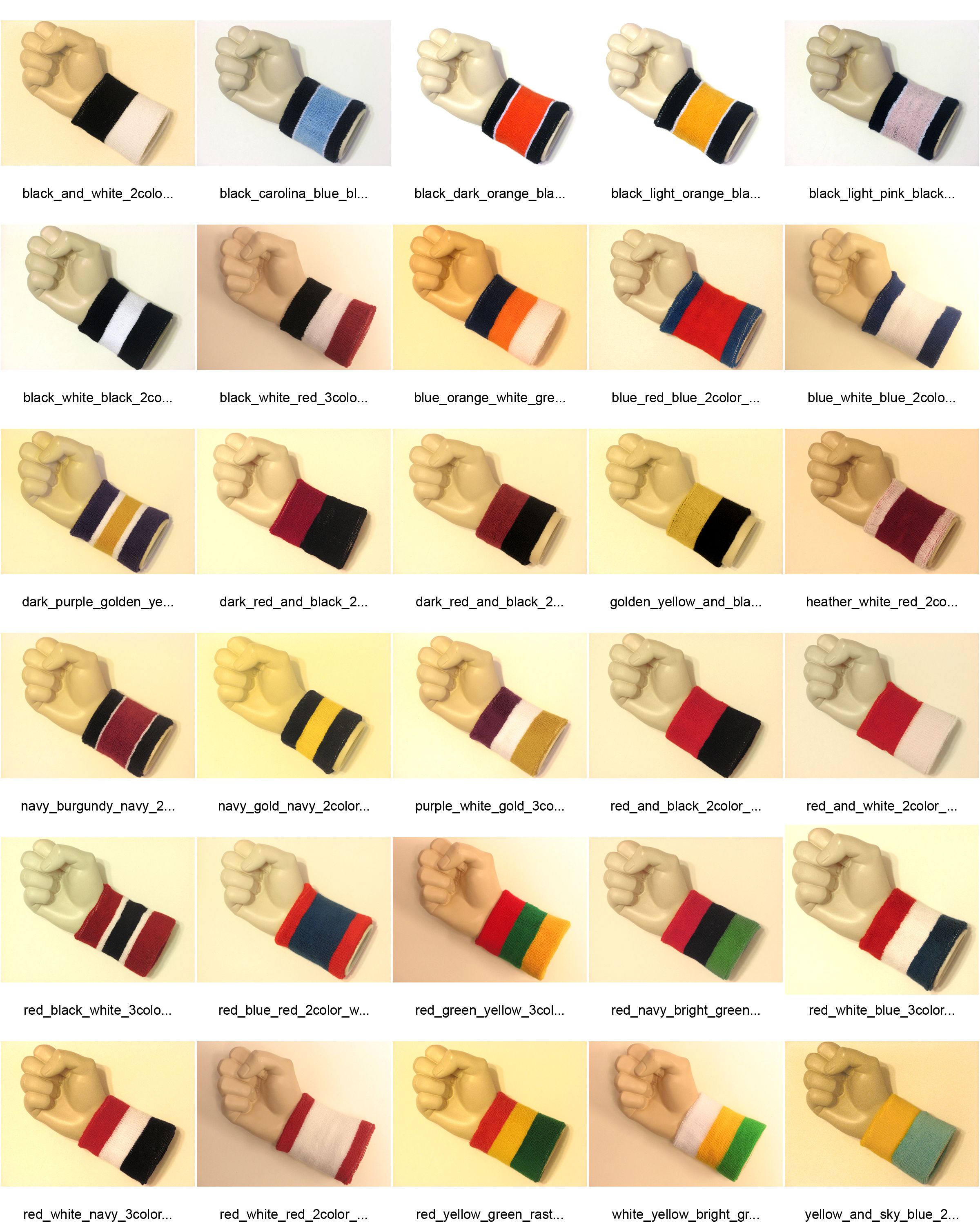 Striped sports sweat wristbands all catalog